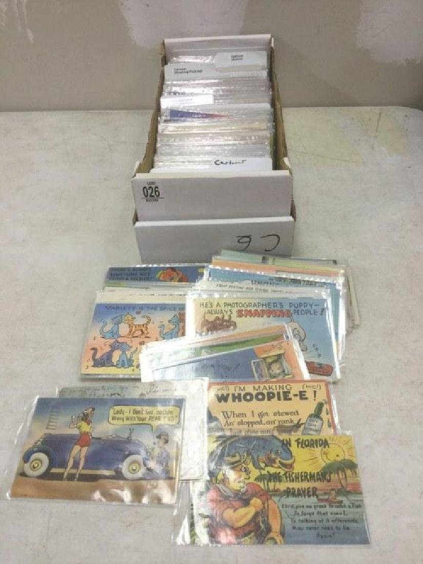 BOX OF APPROX 500 OLDER CARTOON POSTCARDS FROM RETIRED