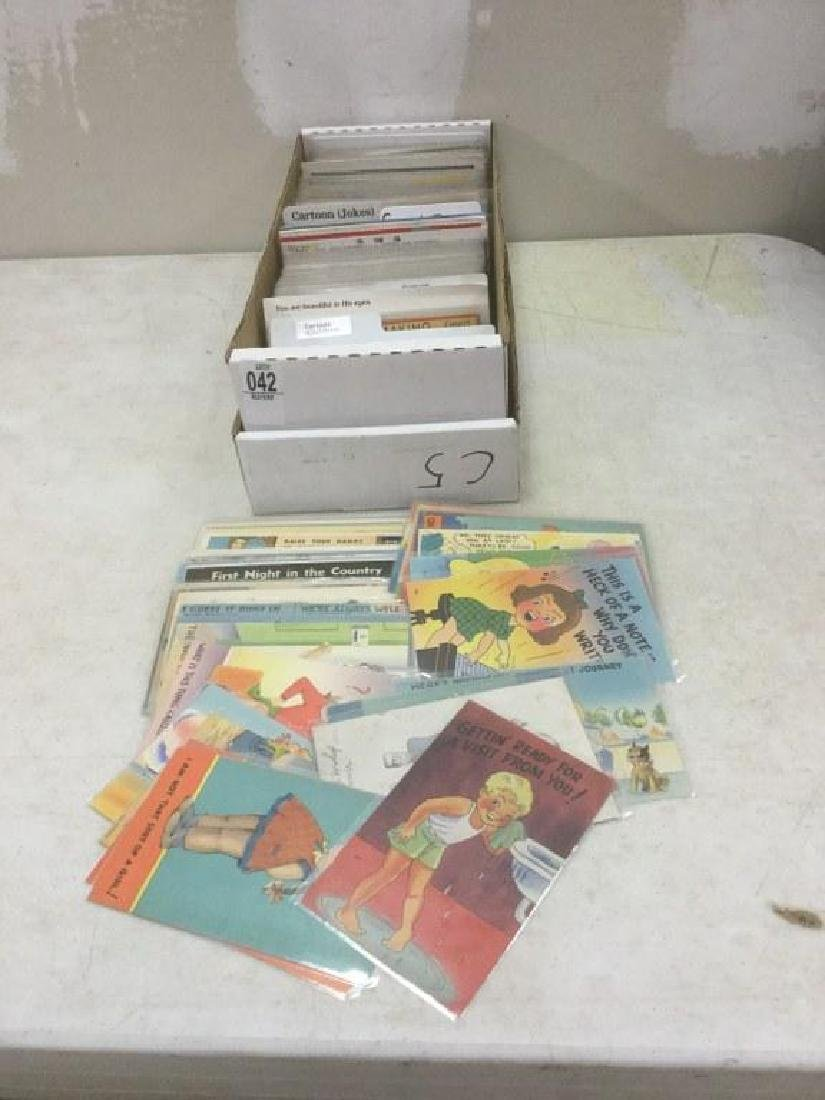 BOX OF APPROX 600-700 OLDER CARTOON AND JOKE POSTCARDS