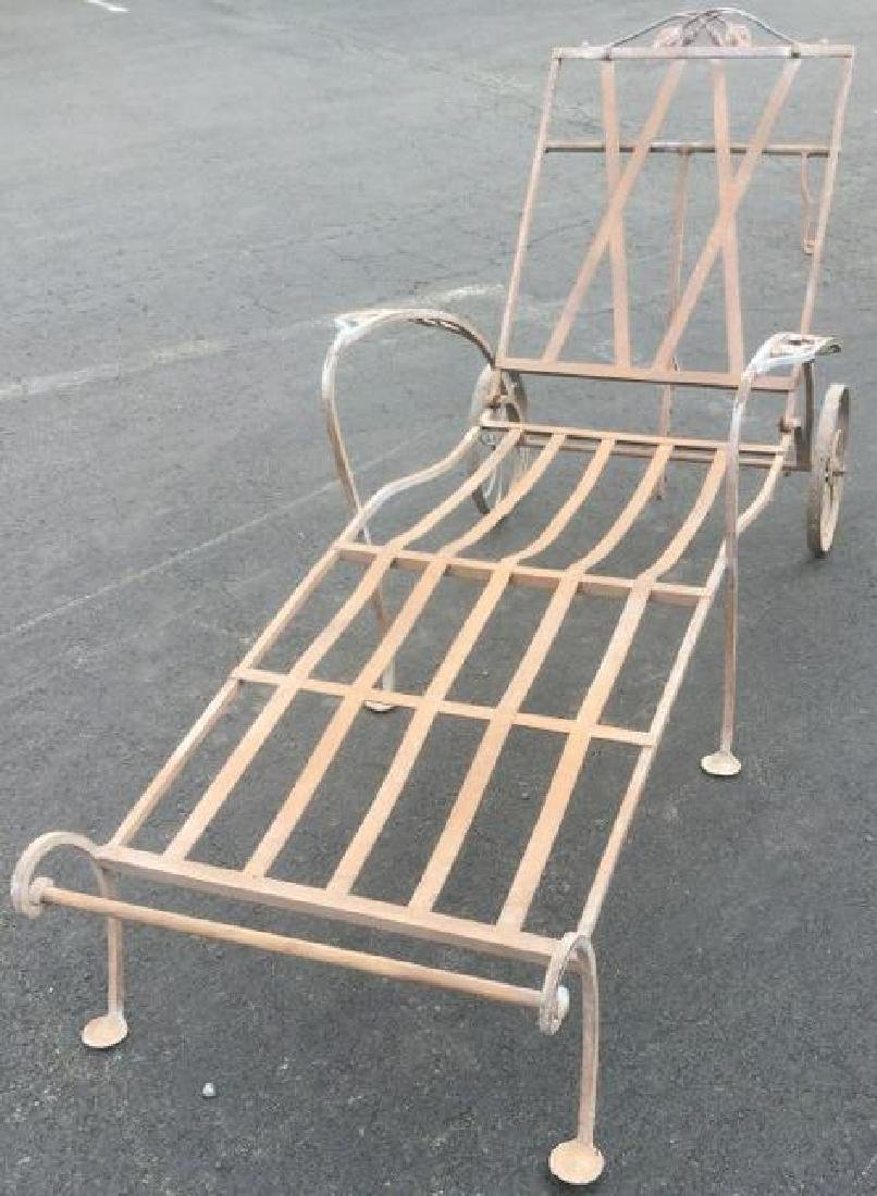 SALTERINI CHAISE LOUNGE, WORN PATINA, NO CUSHIONS, FROM