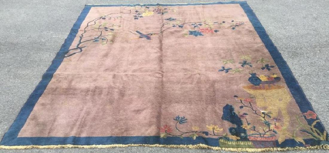 OLD CHINESE RUG WITH LIGHT PURPLE BACKGROUND & DESIGN,