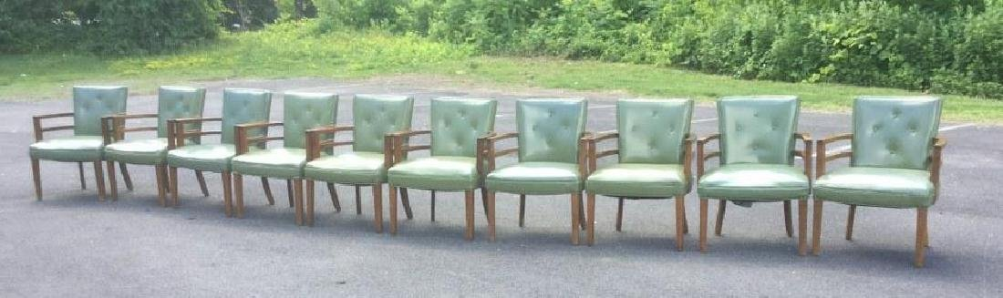 10 1950'S ARMCHAIRS W/GREEN VINYL UPHOLSTERY, MADE BY