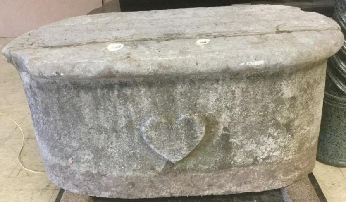 19TH CENTURY STONE CARRIAGE STEP W/CARVED HEARTS ON