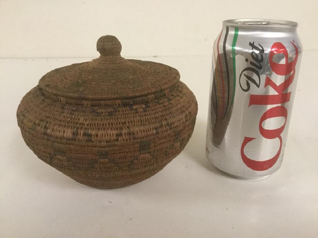 EARLY COVERED INDIAN BASKET, ORIGIN UNKNOWN, FROM