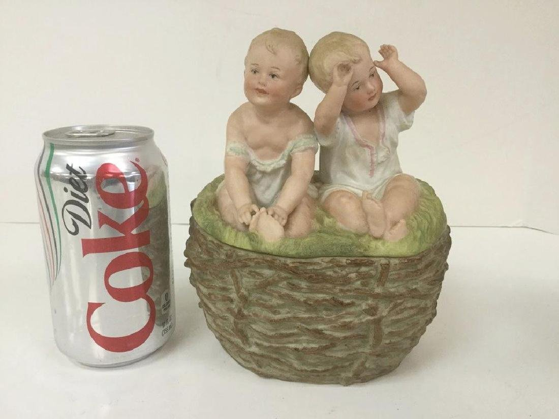 BISQUE COVERED DISH W/FIGURAL BABIES, NICE ESTATE FOUND