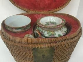 Older Asian Teapot And 2 Cups In Wicker Basket Carrying