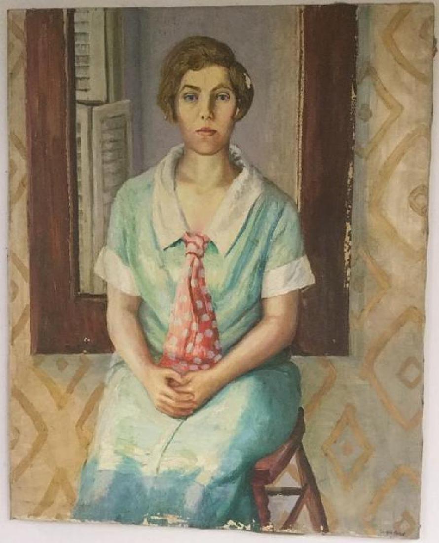 JOSEPH POLLET (1897-1979), O/C PORTRAIT OF WOMAN IN