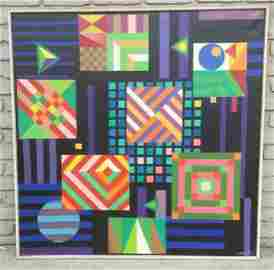 IMPORTANT ROLPH SCARLETT GEOMETRIC ABSTRACT O/C, CANVAS