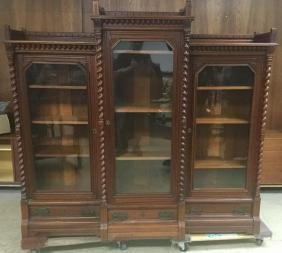 Fancy Eastlake Triple Door Bookcase W/scroll Work On