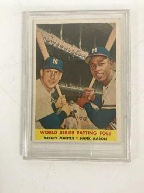 Topps #418 World Series Batting Foes Mickey Mantle &