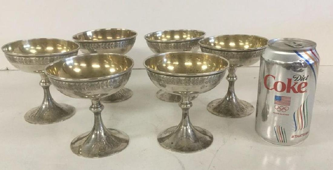 6 STERLING DESSERT GOBLETS WEIGHING 21.03 TROY OUNCES.