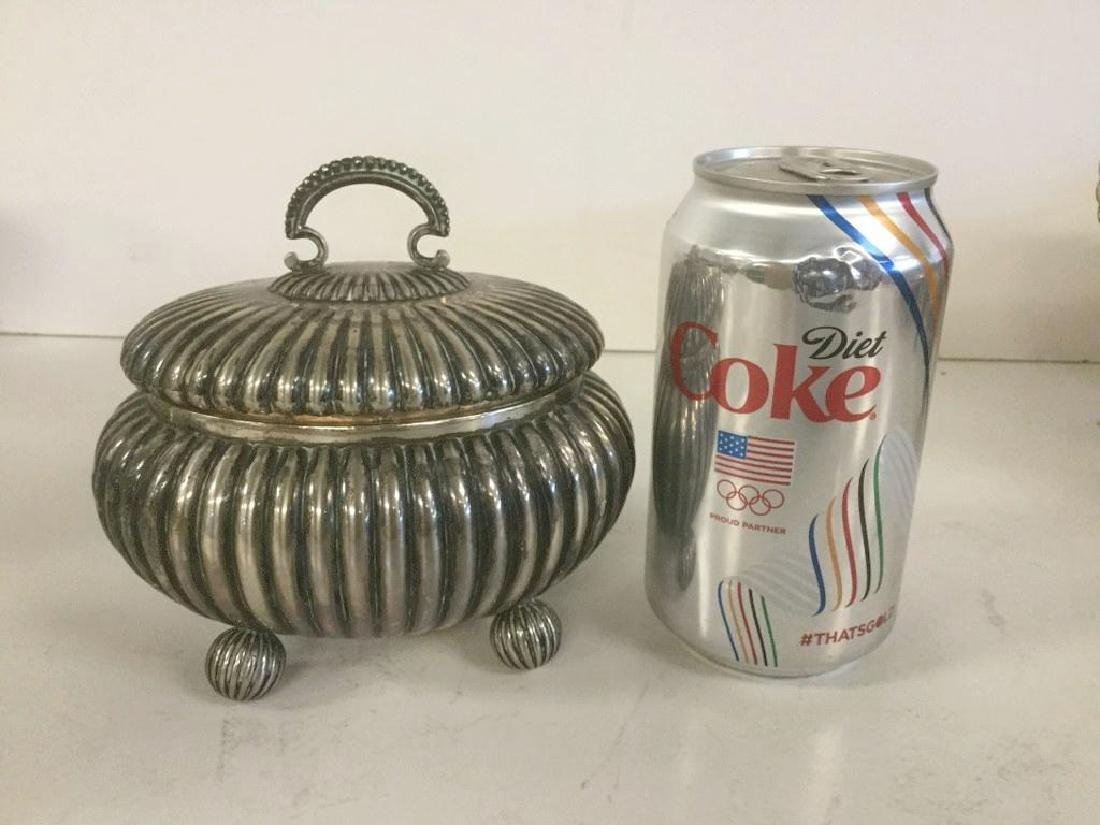 DECORATIVE SILVER RIBBED COVERED BOX, MARKED 800 ON