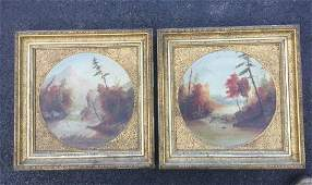 PAIR OF HUDSON VALLEY OC LANDSCAPES ATTRIBUTTED TO