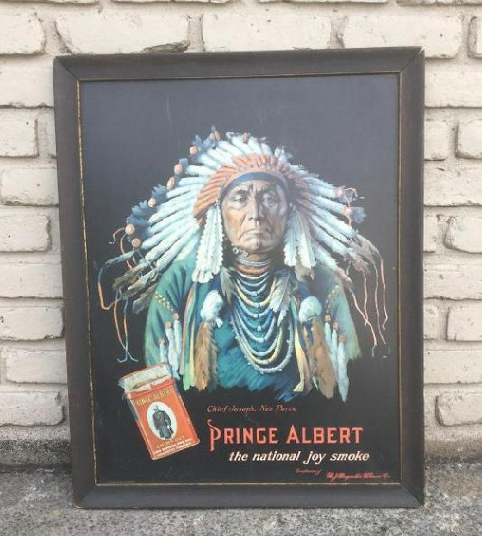 RARE PRINCE ALBERT TIN ADVERTISING SIGN WITH CHIEF