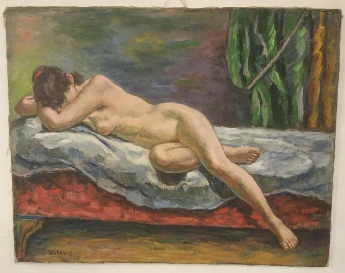MARCO VUKOVIC O/C NUDE RECLINING WOMAN, DATED 1958,
