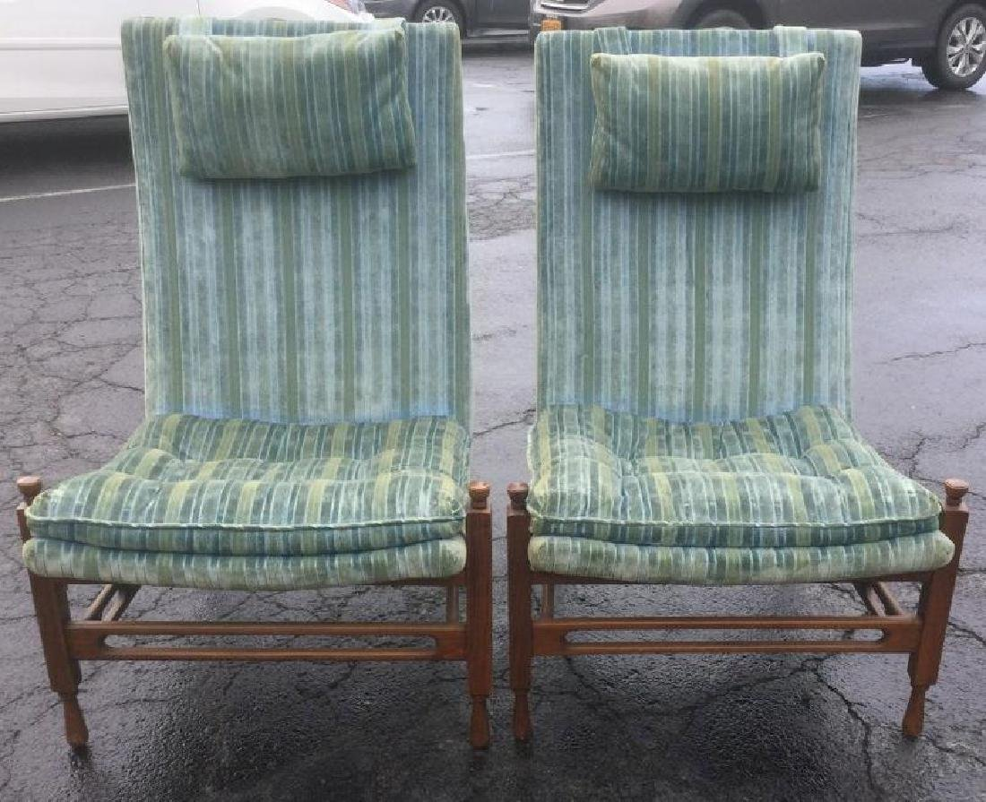 PR BLUE STRIPED MID CENTURY LOUNGE CHAIRS, HIGH BACK,