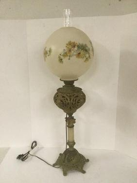 Converted To Electric Victorian Fancy Oil Lamp W/fancy