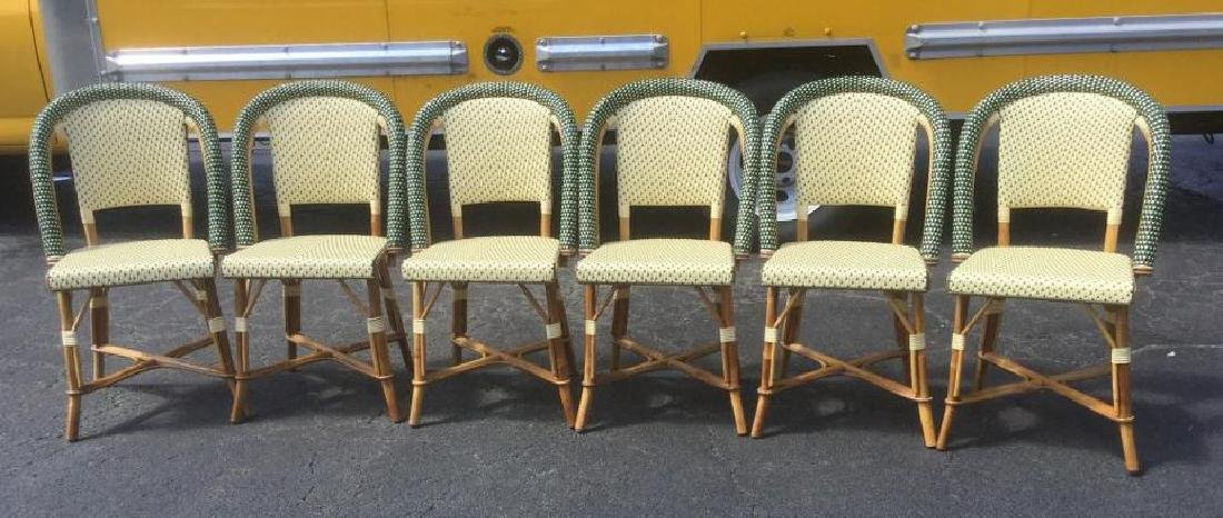 6 BAMBOO AND PLASTIC WOVEN SEATS AND BACK BISTRO