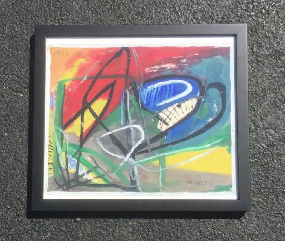 ROLPH SCARLETT ABSTRACT GOAUCHE ON PAPER, SIGNED IN 2