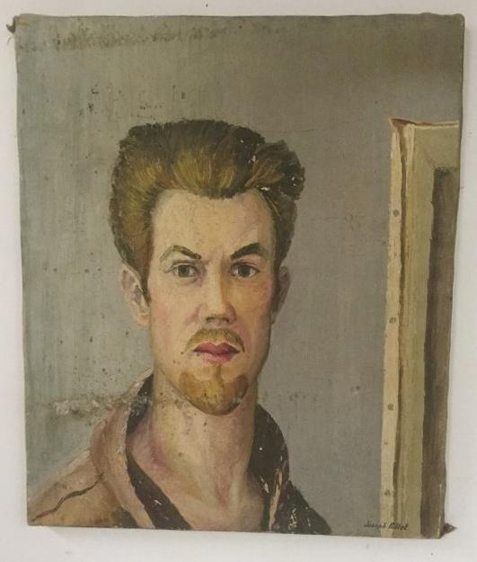 "JOSEPH POLLET SELF PORTRAIT, CIRCA 1940'S, MEASURES 24"""