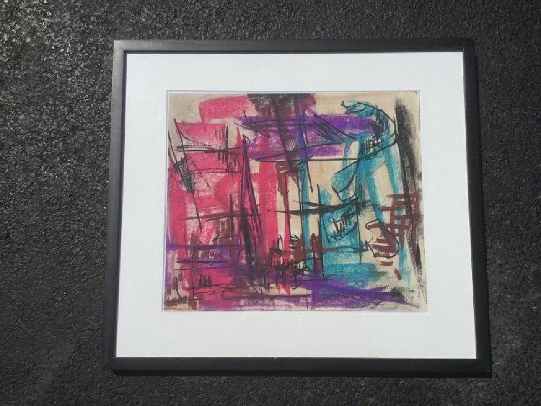 ROLPH SCARLETT ABSTRACT W/C AND CHALK, NICELY FRAMED