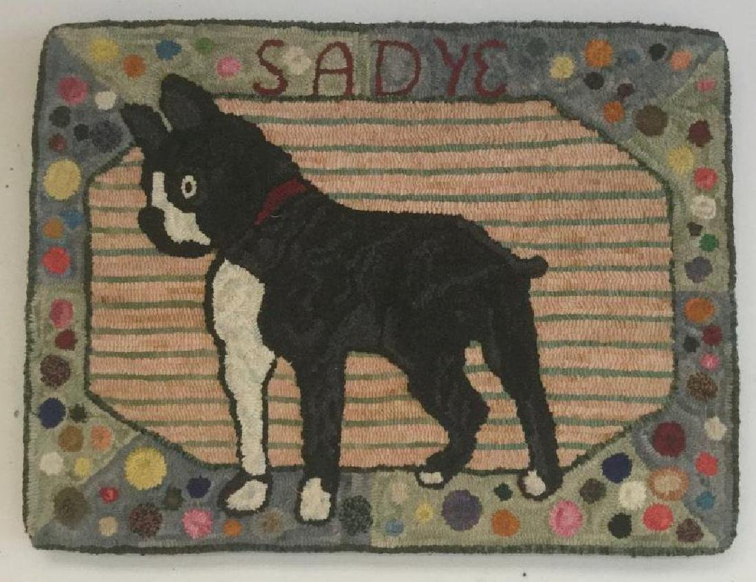 FOLK ART HOOK RUG OF BULLDOG AND NAME SADIE, MEASURES