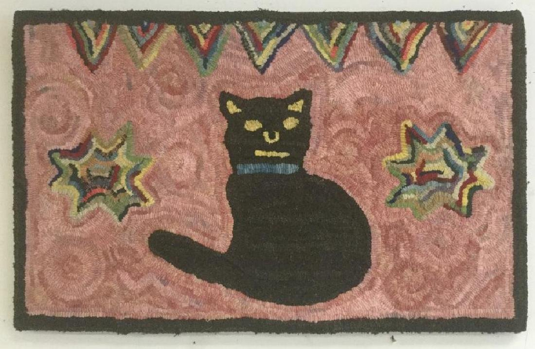 "FOLK ART HOOK RUG W/BLACK CAT, MEASURES 18"" X 29"","