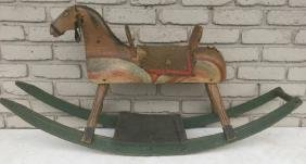 Early Child's Rocking Horse In Old Paint, In As Found