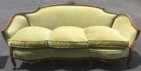 1930's Carved Mahogany Sofa W/light Green Nice