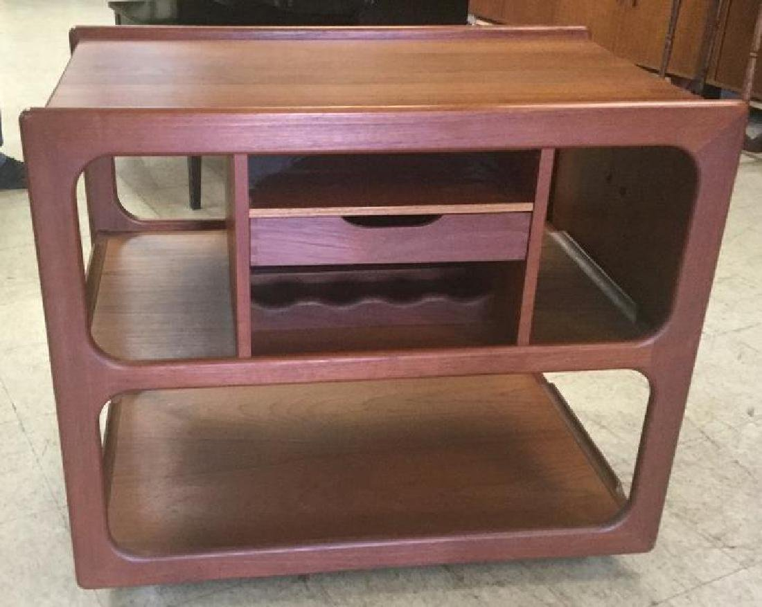 DANISH MODERN TEAK CART W/PULL OUT SIDES FOR SERVING,