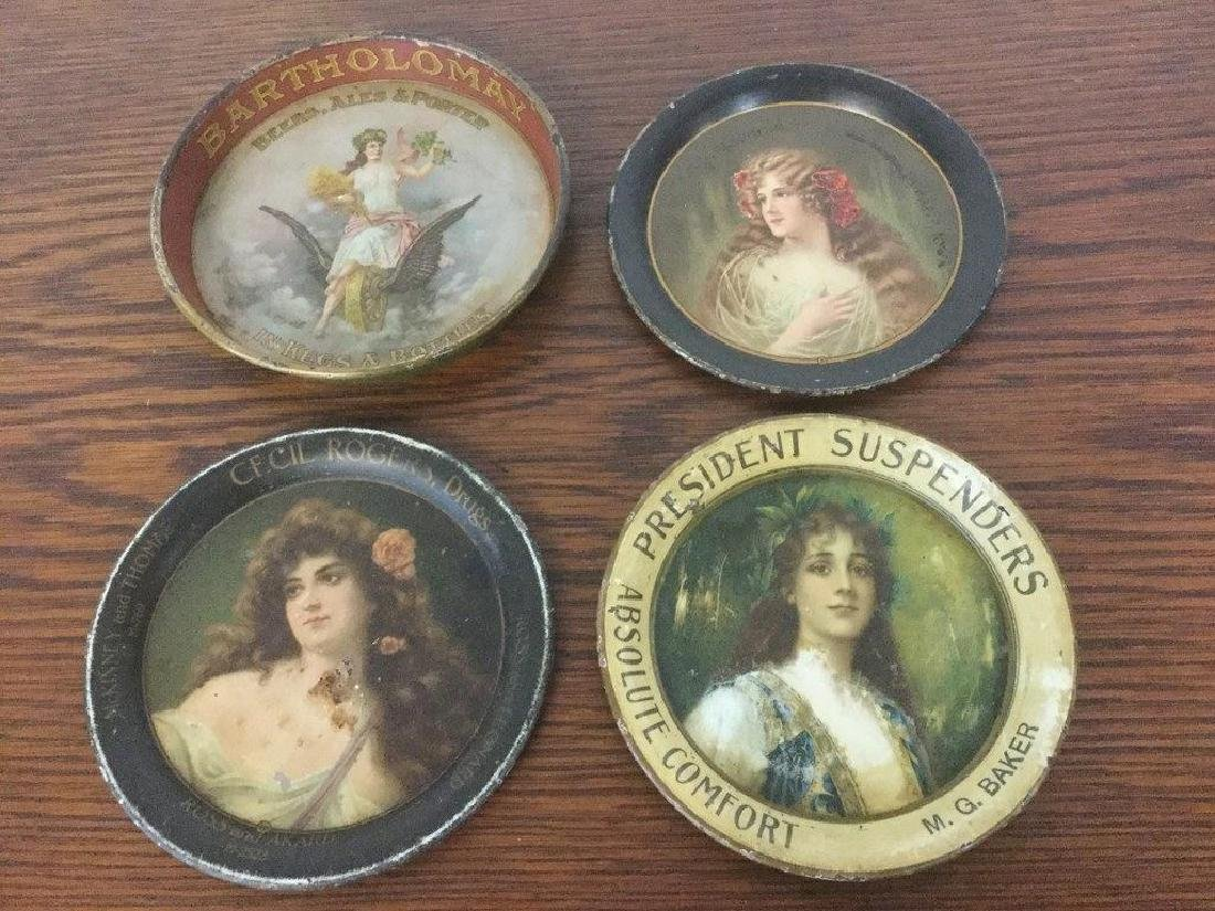 LOT OF 4 ADVERTISING TIP TRAYS INCLUDING BARTHOLOMAY