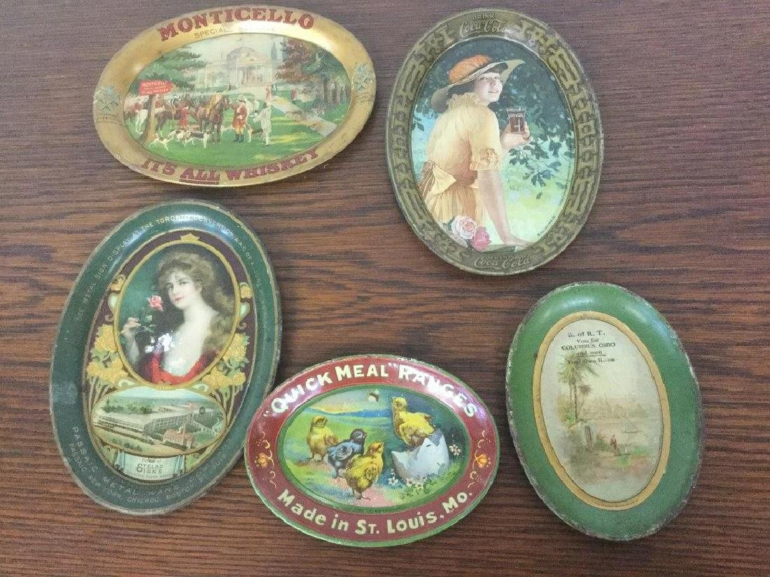 LOT OF 5 ADVERTISING TIP TRAYS INCLUDING MONTICELLO