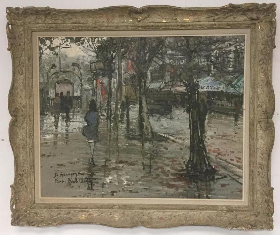 DINO ZAMPOGNA, BORN 1926, O/C PARIS STREET SCENE, CIRCA
