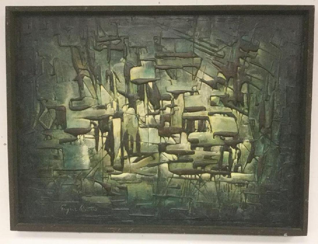 EUGENE WINTER, (1918-1980), ABSTRACT MID CENTURY O/C