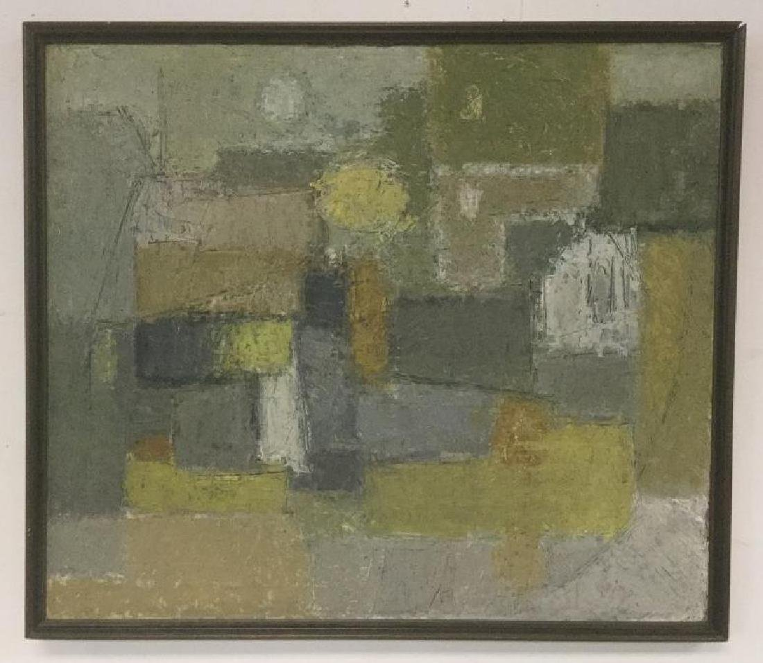 EDEL B JENSEN 1964 O/C ABSTRACT, SIGNED ON BACK AS