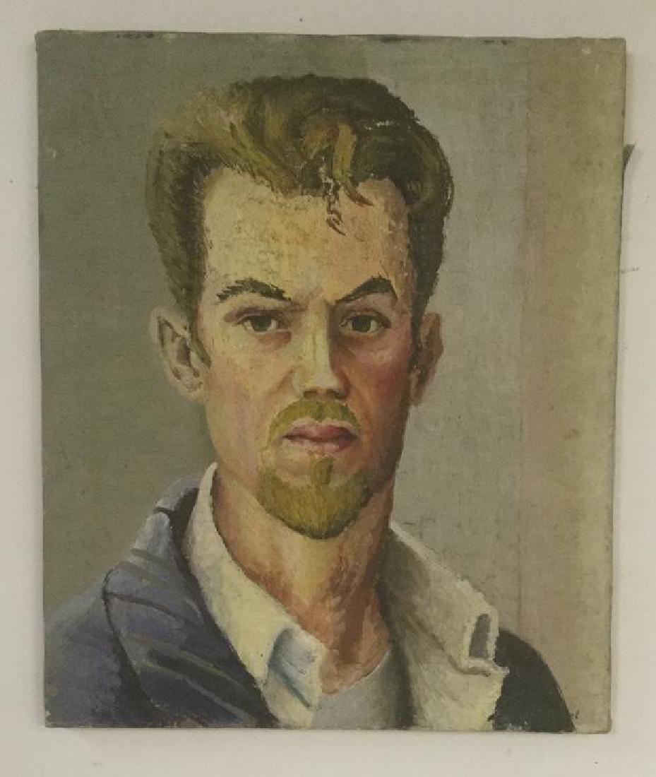 JOSEPH POLLET O/C SELF PORTRAIT, CIRCA 1940'S, DIRECTLY