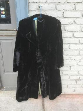 Black Seal Fur Coat With Belt, From Woodstock Ny