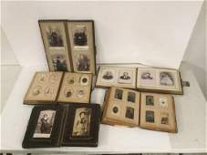 LOT OF 5 VICTORIAN ERA PHOTO ALBUMS INCLUDING CABINET