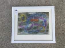 ROLPH SCARLETT ABSTRACT PASTEL ON PAPER, SIGNED LOWER