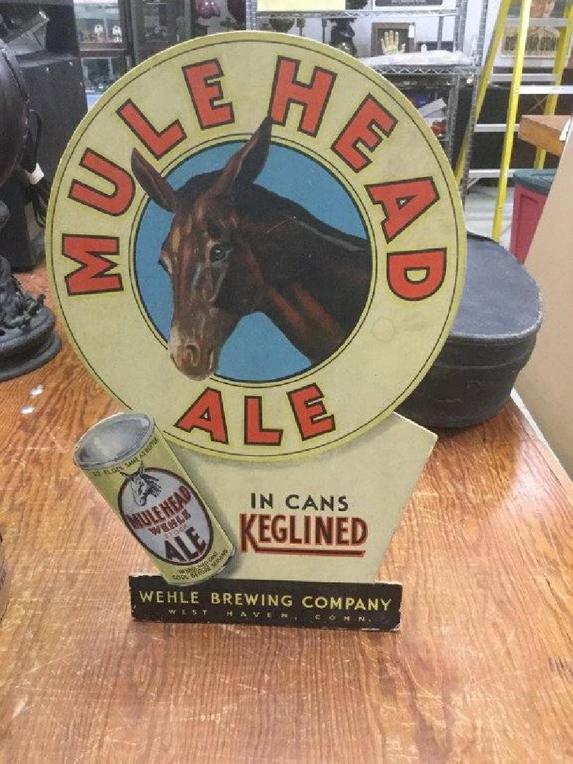 MULEHEAD ALE ADVERTISING COUNTER DISPLAY, BACK INTACT,