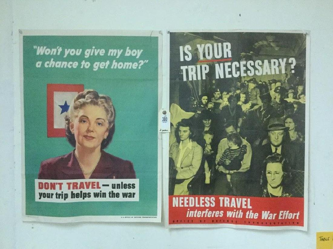 LOT OF 2 WWII POSTERS - DON'T TRAVEL - UNLESS YOUR TRIP