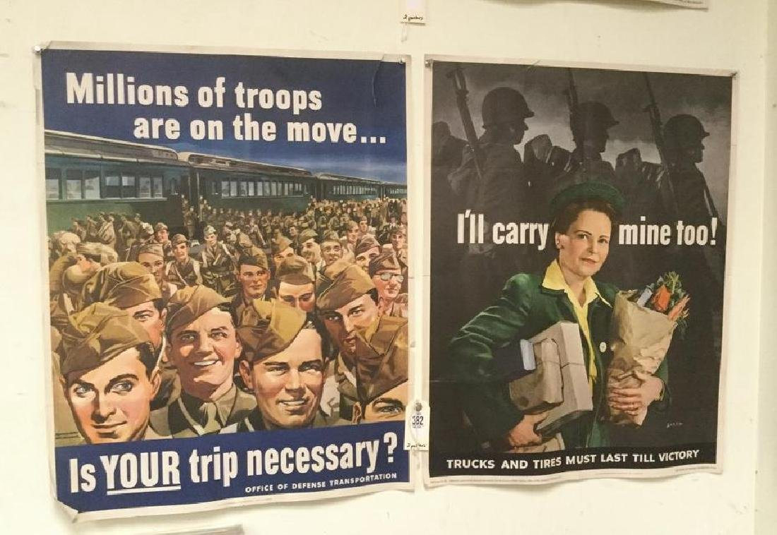 LOT OF 2 WWII POSTERS - IS YOUR TRIP NECESSARY? &