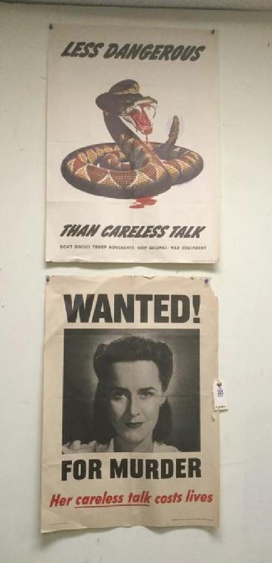 LOT OF 2 WWII POSTERS - LESS DANGEROUS THAN CARELESS
