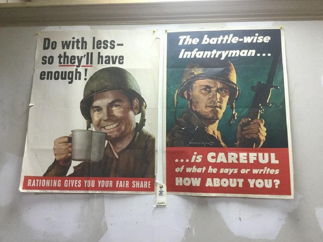 LOT OF 2 WWII POSTERS - DO WITH LESS - SO THEY'LL HAVE