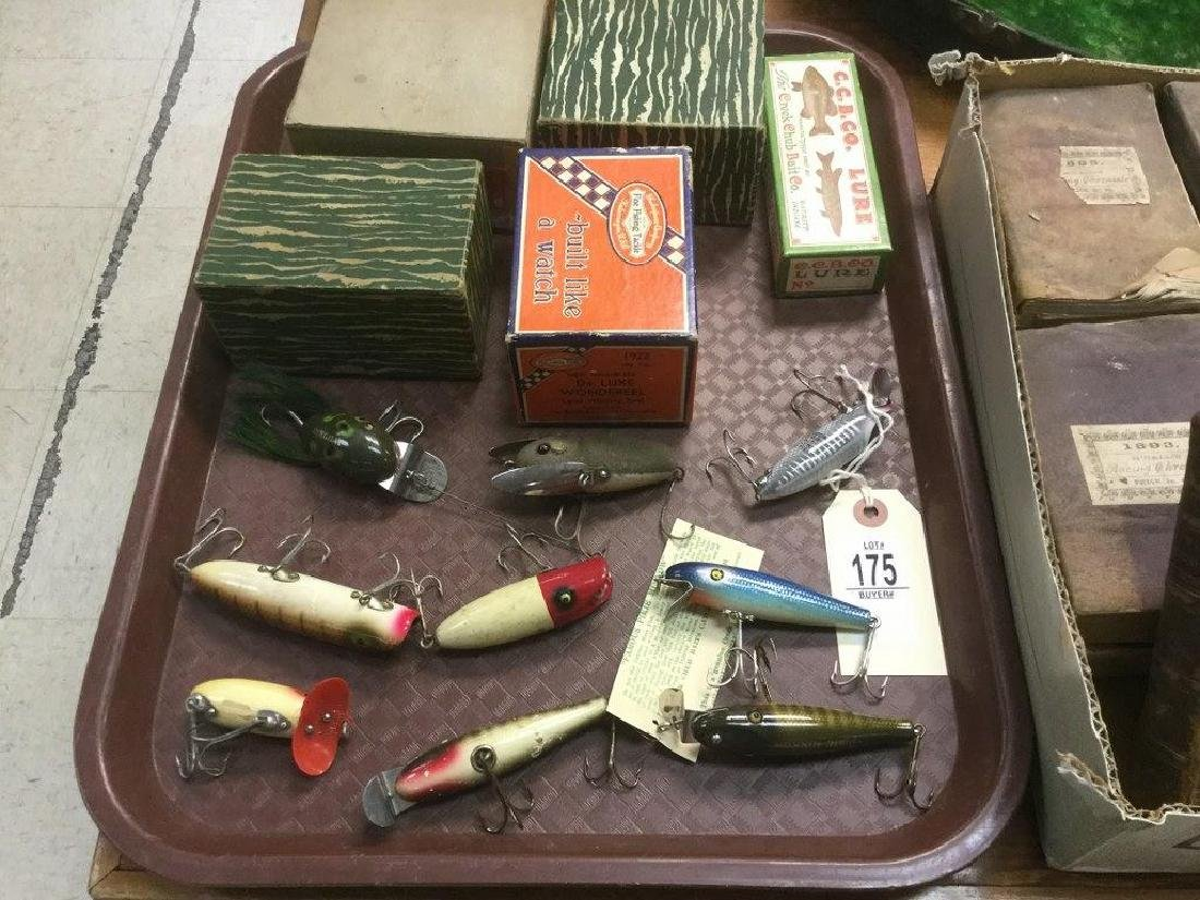 LOT OF EARLY FISHING LURES & REELS, INCLUDING CREEK