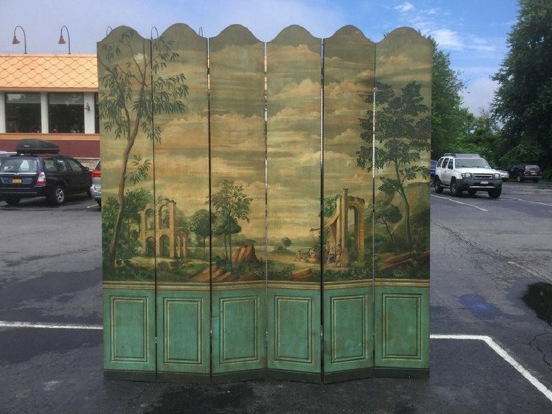 "HAND PAINTED DECORATIVE SCENIC SCREEN, MEASURES 90"" X"