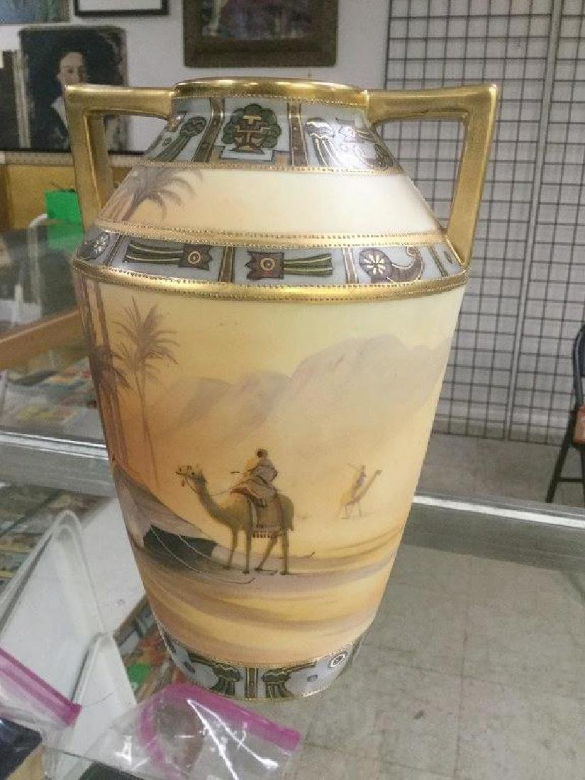 HAND PAINTED NIPPON VASE W/EGYPTIAN LANDSCAPE, MEN ON