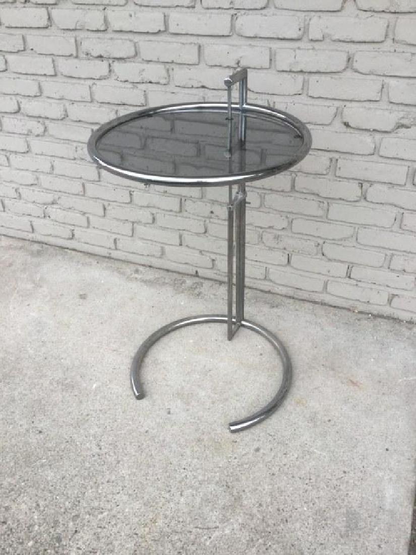 EILEEN GRAY CHROME ADJUSTABLE SIDE TABLE, NICE