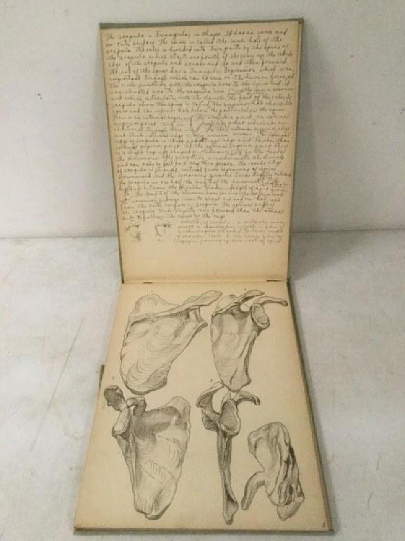 EARLY ACADEMIC ANATOMY SKETCHBOOK, HAND WRITTEN WITH