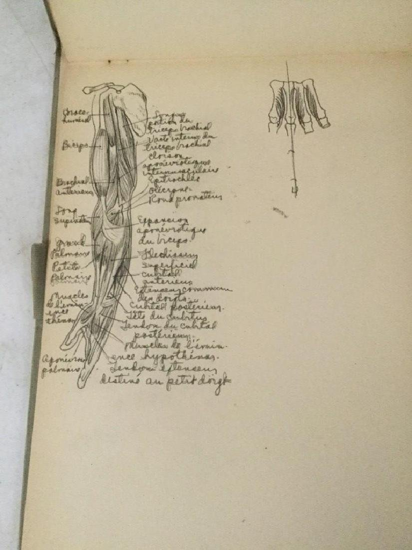 EARLY ACADEMIC ANATOMY SKETCHBOOK, HAND WRITTEN WITH - 8