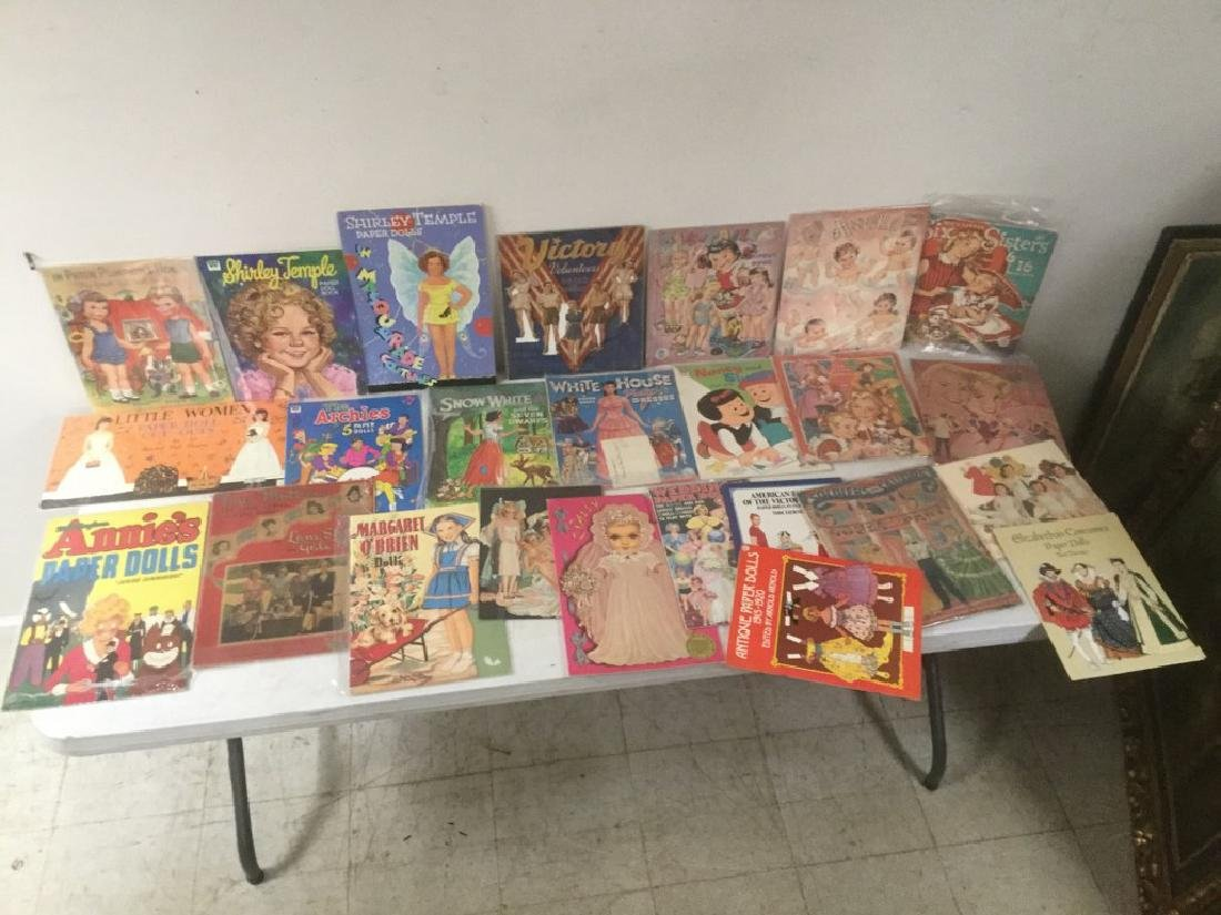 BOXLOT OF 25 PAPER DOLLS AND CUT OUTS, WIDE RANGE OF